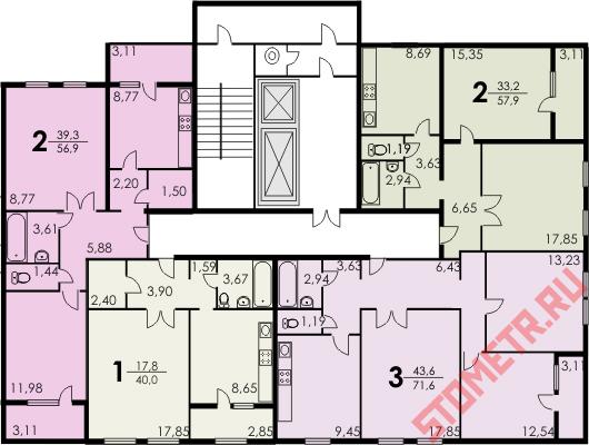 рядовая планировка квартир П-
