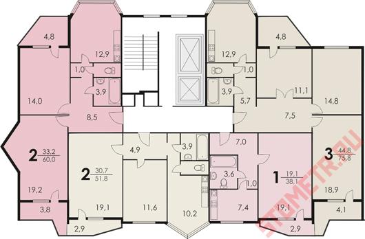 угловая планировка квартир П-
